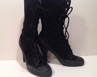Vintage Norma Kamali black suede with black sole high heel sneaker boots 10 B