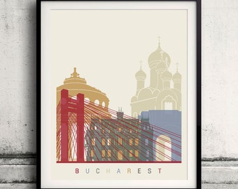 Bucharest skyline Poster INSTANT DOWNLOAD 8x10 inches Poster Wall art Illustration Print Art Decorative - SKU 1395
