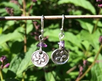 Handmade fine silver and amethyst earrings