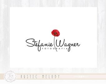 Poppy Flower Logo Floral Logo Design Photography Logo Wedding Logo Events Logo Watercolor Logo Boutique Logo Shabby Chic Logo