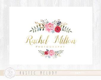 Floral Logo Design Photography Logo Gold Foil Logo Watercolor Logo Boutique Logo Wedding Logo