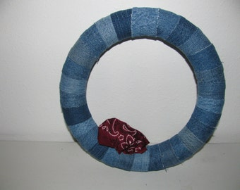 Recycled Denim Pieced Wreath