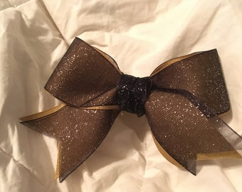 Gold Black and Silver Sparkle Ribbon Bow