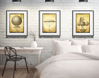 Steampunk Wall Art - 3 Prints - Matted and Framed - Free Shipping - Black or White Frames - In 4 Sizes - Flying Machine Print