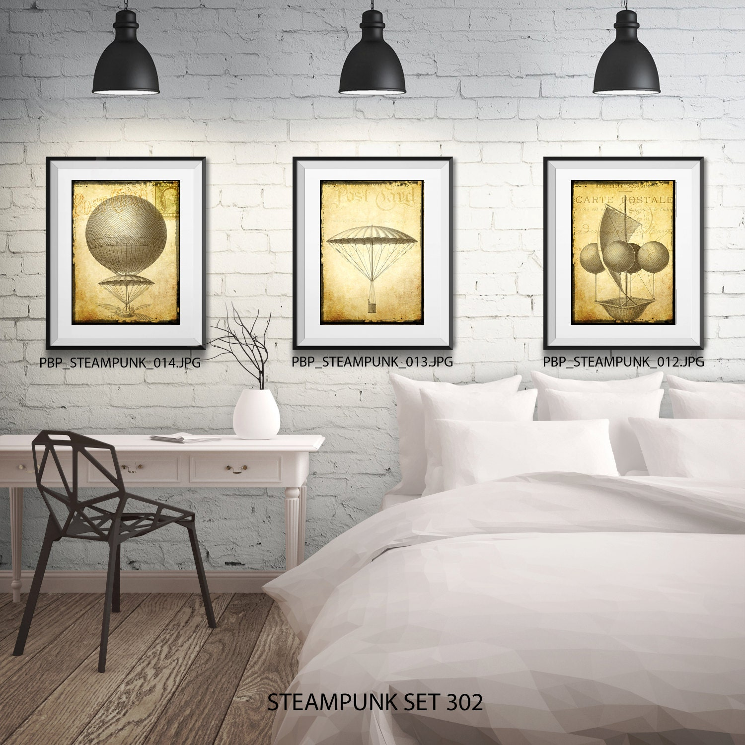 Steampunk Wall Art   3 Prints   Matted And Framed   Free Shipping   Black  Or White Frames   In 4 Sizes   Flying Machine Print