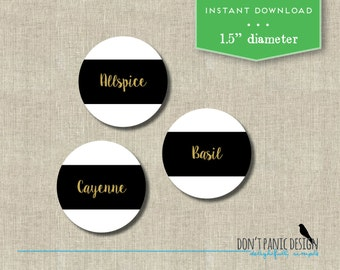 DIY Printable Spice Jar Labels - Modern Black and Gold Round Spice Jar Labels - Home Organizing - Printable Stickers - Instant Download