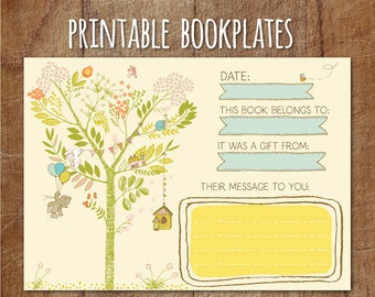 Storybook Baby Shower Printable Bookplates, Storybook Printable Book Label, Printable Baby Shower Book Card, Build A Library, Bring A Book