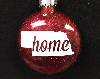 "Nebraska Huskers ""Home"" Christmas Ornament - Free Shipping"