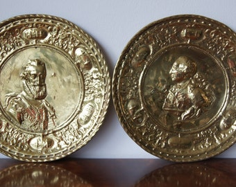 Pair antique  Brass Wall Plates 12'' Peers