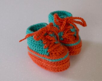 Baby Crochet High Top Shoe Bootie, Orange and Aqua, 0-3 Months