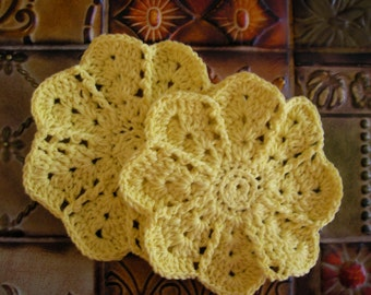 2 Hand Crocheted Dishcloths - Washcloths Yellow  Daisy