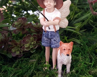 Miniature Fairy Oliver and His Dog - Gone Fishing