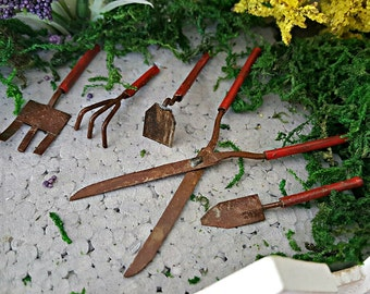 Miniature Weathered Garden Tools - Set of 5