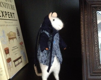 Handmade needle felted Winter Mouse 18cm
