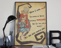 Alice in Wonderland, Bonkers Quote poster Mad Hatter, Typographic vintage print, Inpirational Genius Quote, Sizes A4-A0