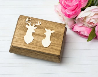 Ring Box Buck and Doe Kissing Rustic Moss Wedding Ring Box Bearer Holder Country Wedding Moss Ring Box Ring Pillow