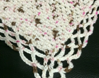 Baby Afghan, pink and brown
