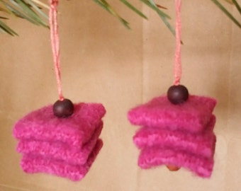 Upcycled Repurposed Pink felted wool dangle earrings