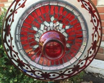 F-110 Glass Flower, Red Garden Art