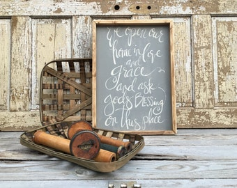 We Open Our Home In Love And Grace And Ask For Blessing On This Place    Large Rustic Sign   Home Decor   Mantle Sign   Gallery Wall