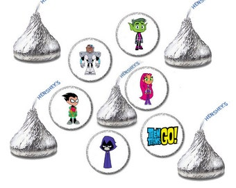 Teen Titans Go, Cartoon, Hershey Kiss Stickers, Envelope Seals, Birthday Party, Goody Bag, Labels, Favors, 120 Stickers