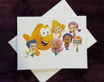 Bubble Guppies Note Cards, Thank You Cards, Invitations, Notecards, Birthday Party, Set of 6 or 12 with Envelopes
