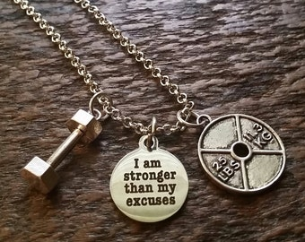 I Am Stronger Than My Excuses Weightlifting Necklace