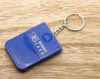 Blue PlayStation PS1 Memory Card Keyring Upcycled