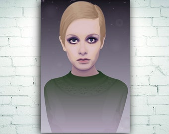 Twiggy Art Print on Canvas Fashion Model Style Icon Sixties 60s Vintage Portrait