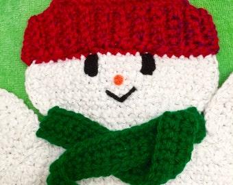 Snowman Hot Pad, Snowman Pot Holder, Crocheted Snowman, Crochet Snowman Hotpad