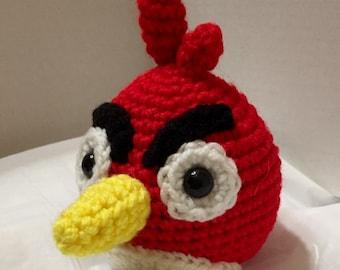 Crocheted Red Angry Bird 3, Crocheted Angry Bird, Amigurumi Bird