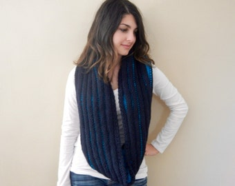 Knit Cowl Scarf, Hand Knit Cowl, Long Knit Cowl, Knit Hooded Cowl Scarf, Reversible Knit Cowl