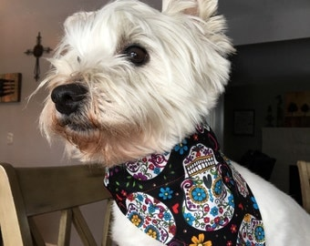 Small Sugar Skull Dog Bandana