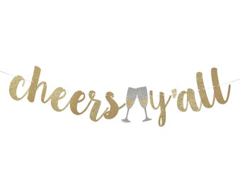 Cheers Y'all Banner | Engagement Party Decorations | Bachelorette Banner | Cheers Yall Banner | Engagement Party Banner | Bridal Shower