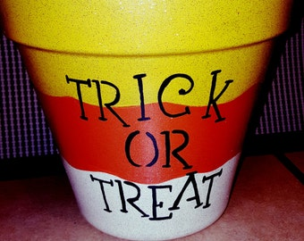 Trick or Treat Clay Pot Candy Dish/Flower Pot