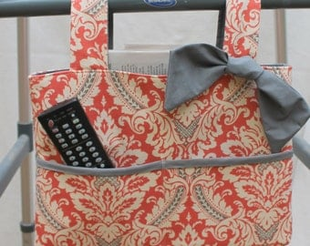 walker bag tote wheelchair bag grandma gift Waverly coral and gray damask