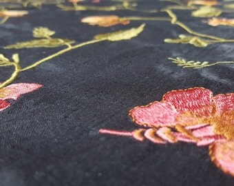 Black Silk Dupion with Floral Embroidery - UK seller