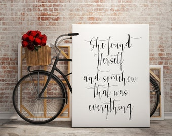 """Typography art Inspirational quote """"She found Herself"""" Instant download Motivational quote Printable art wall art print black and white art"""