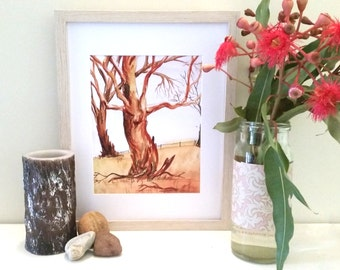 Gumtree Watercolour Print (8x10inch) wall print, landscape, Australian Art,