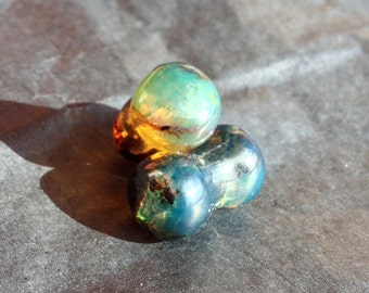 Blue Amber, Green Amber, Amber Plugs, Double Flare Amber Plugs, Green Stone Plugs, Blue Stone Plugs