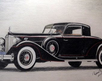 Black Antique Italian Car Original Colored Pencil Art