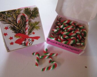 Many mini candy canes - Dollhouse / miniature polymer clay