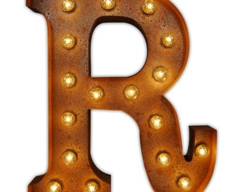 Premium Vintage Carnival Fairground Rustic Metal Large Letter Lights A-Z and Various Symbol Characters Free P&P
