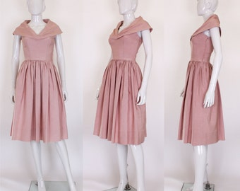 1950s Prom Style Dusty Pink Dress