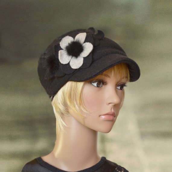 cap with visor womens winter hats felted by