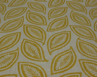 "SALE! The Ashlee Collection, P/Kaufmann, ""Leaf Forever"" Yellow Yolk, Leaf Print, Botanical, Crisp yellow and white. Drapery Weight."