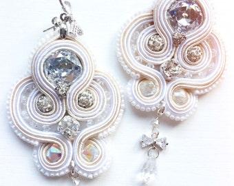 Handmade white soutache earrings