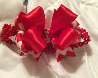 Hairbow red and white chevron