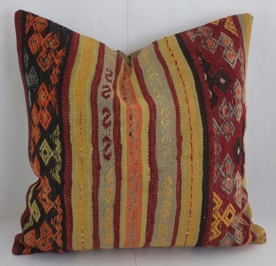 24x24 Large Kilim Fabric Pillow Turkish Rug Pillow Bohemian