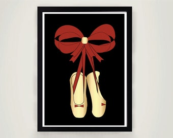 Pointe shoes, Pointe Print, Pointe Ballet Printable Poster, Wall art, decor, Digital Print